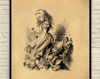 Alice in Wonderland Art Print, Alice in Wonderland Wall Art, Book Page Art Print, Storybook Page, Fairy Tale Art Print, Vintage Book Page.