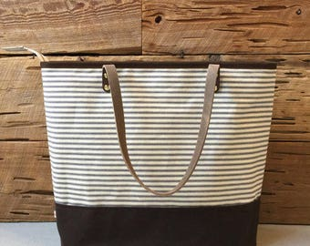 Ticking  and Wax Cloth Tote Bag