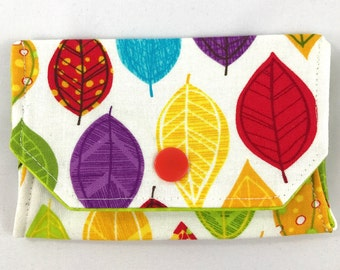 Colorful leaves snap wallet // notions pouch // slim pouch // slim wallet // coin purse // gift card holder // pill box // origami wallet