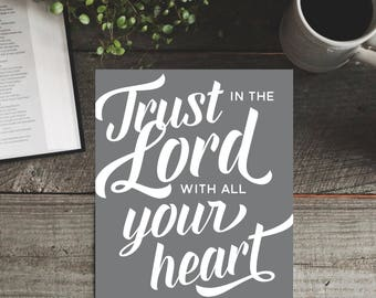 Bible Verse Art Print: Trust in the Lord with all Your Heart - 8 x 10 in.