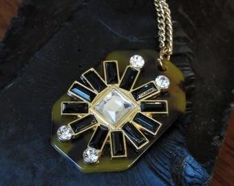 "Art Deco Style Geometric Vintage Tortoise Shell & Rhinestone Necklace, Pendant,Black,Sparkling Clear Diamond Stones,Long 31"" Gold Tone Chain"