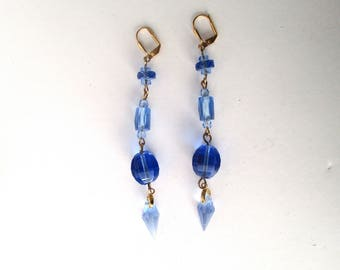 Pair of Vintage Blue Crystal Earrings With Brass Wires