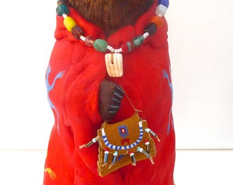 Bear totem spirit sculpture Native American Indian Plains buffalo robe Sioux Lakota southwest art shamanic medicine pouch glass shell beads
