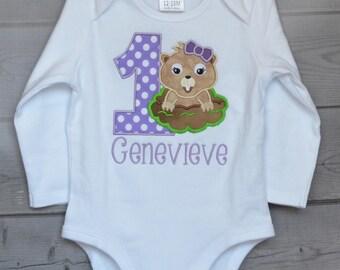 Personalized Ground Hog Birthday Applique Shirt or Onesie Girl or Boy