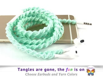 iPhone 7 Lightning EarPods, Macrame Wrapped No Tangle Free Earbuds, Unique Gift for High School College University Student from Mom