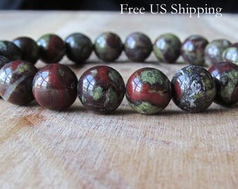 8mm Dragon Blood Jasper Bracelet, Gemstone Bracelet, Natural Stone Bracelet, Gift for Her,  Mens Bracelet, Yoga Jewelry, Stacking Bracelet