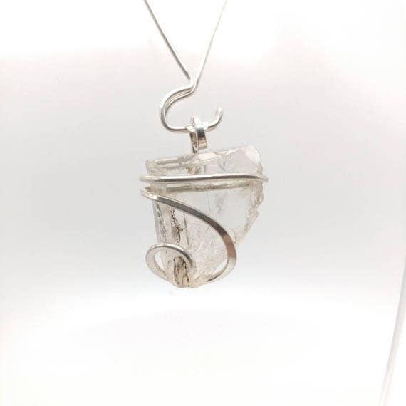 Raw Topaz Pendant | Raw Crystal Pendant | Sterling Silver Pendant | Raw Stone Pendant | Raw Topaz Crystal Jewelry | Raw Topaz Necklace