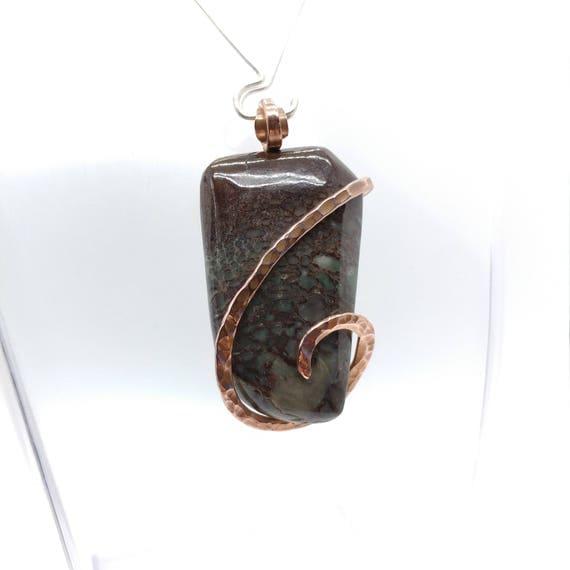 Gem Bone Pendant | Dinosaur Fossil Necklace | Hammered Copper | Dinosaur Fossil Pendant | Dinosaur Bone Necklace | Rustic Stone Necklace |