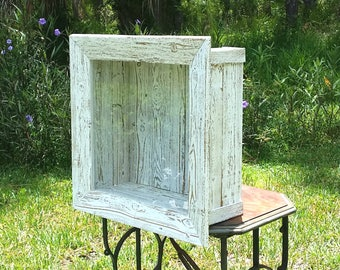 Wedding Bouquet Shadow Box Rustic Frame Wedding Keepsake Box Glass Door  Rustic Beach Cottage Chic Home