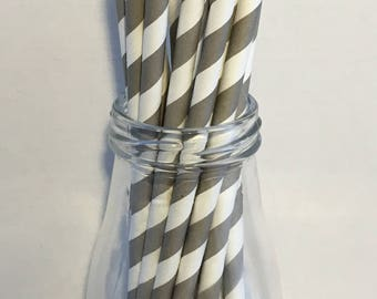 Gray Stripe Paper Straws, Mason Jar Straws, Party Decor, Straws