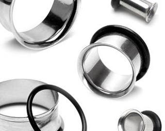 "Single Flared Tunnels Stainless Steel Plugs (2GA-1"")"