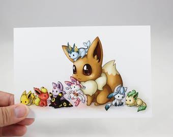 Eevee and Friends - Pokemon Postcard Print