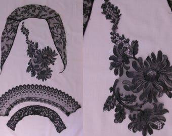 Lot of 3 Edwardian black lace collars & a large lace applique