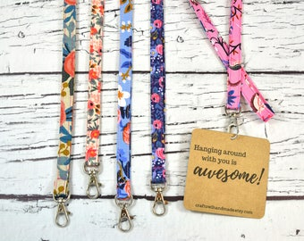 Rifle Paper Co Lanyard/ ID Badge Holder/ Name Tag/ Long Keychain/ Lanyard with Swivel Clip/ Les Fleurs