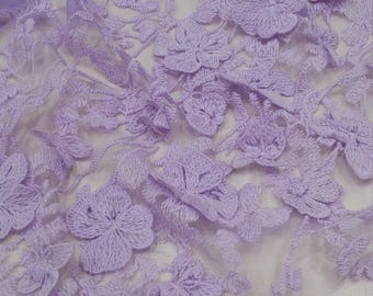 Lilac Lace fabric, 3D French lace, Chantilly lace Bridal lace Lilac Wedding lace Veil lace Scalloped Floral lace Lingerie lace yard N20223