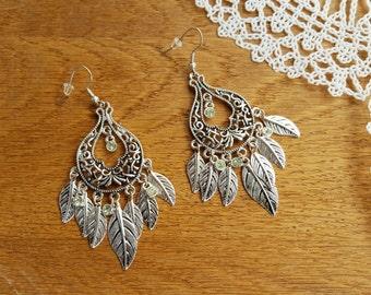 Vintage Earrings, Boho Earrings, Dangle Earrings, Leaves Earrings