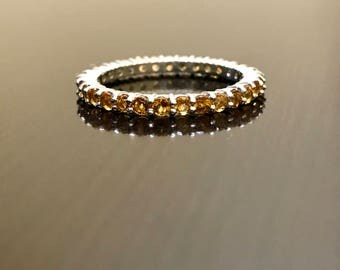 Eternity Citrine Engagement Band - Silver Citrine Wedding Band - Citrine Eternity Band - Silver Eternity Citrine Band - Silver Citrine Band