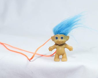 Vintage 80s 90s Novelty Troll Necklace, Pink hair troll necklace, vintage troll doll