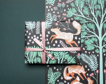 Foxy Wrapping Paper, Foxes in the Forest Gift Wrap, Three sheets of Gift Wrapping