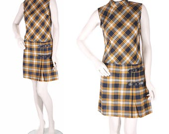 1960s Navy Blue White and Yellow Plaid Sleeveless Pleated Scooter School Girl Dress -XS