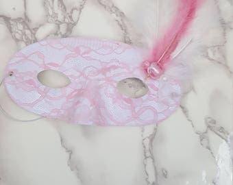 Lace and Feather Mask, Masquerade Mask, Lace Mask, Costume Mask, Cosplay Mask, Mardi Gras Mask, Halloween Mask, Feather Mask, Dance Costume