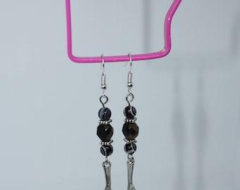 Tibetan Silver wrench black beaded earrings