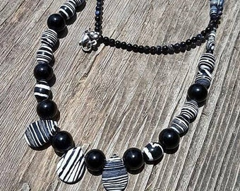 Black and White Stripes Calsilica and Black Agate Stone Teardrop Beaded Necklace