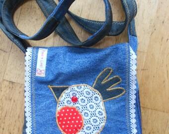 Pippa & Lies! bag of denim with funny little bird