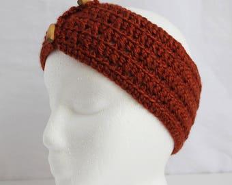 Brown Crochet Ear Warmer - Brown Crocheted Ear Warmer Headband with Wood Buttons - Crochet Headband - Winter Headband - Ear Warmer