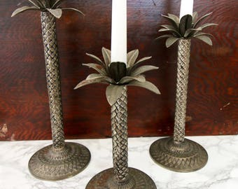 Set of 3 Graduated Palm Tree Candle Stick Holders