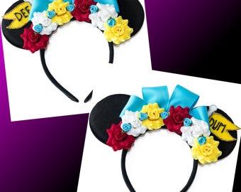 Dee and Dum Mouse Ears Headband, Tweedle Dee Ears, Tweedle Dum Ears, Wonderland Ears, Alice Ears, LED Headband, Mickey Ears Headband