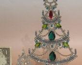 Two Delicate Rhinestone Vintage Christmas Trees Free standing Czechoslovakia