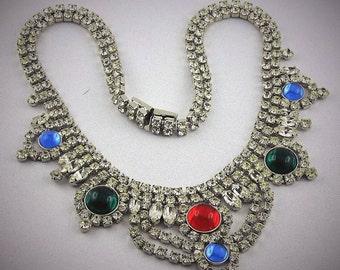 Fabulous Vintage Czech Rhinestone Massive Bib Necklace Collier