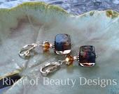 Navy Blue Pink Orange Cube Earrings, Swarovski Crystal Earrings, Lampwork Jewelry, Sterling Silver Leverbacks, River of Beauty Designs