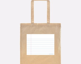 Notebook Paper Graphic© Book Tote - is a great gift for your favorite teacher, student & author. Perfect for a beach day or back to school