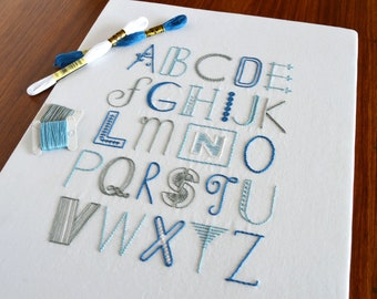 Deco Alphabet hand embroidery pattern, modern embroidery, typography, hand lettering, embroidery patterns, embroidery sampler, PDF pattern