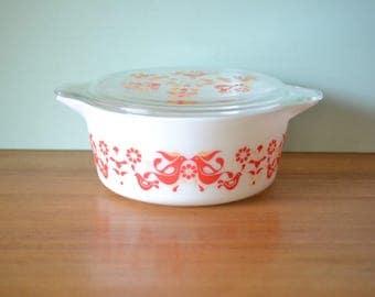Vintage pyrex Casserole Dish bowl friendship dove bird