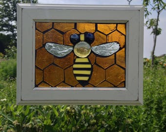 Stained Glass Bee Suncatcher Honey Bee Stained Glass Mosaic Suncatcher Honey Comb Stained Glass Suncatcher - Mosaic Bee Suncatcher
