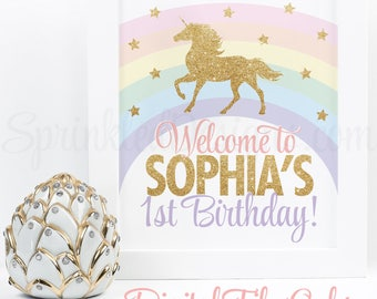 Unicorn Welcome Sign, Rainbow Unicorn Birthday Party Sign, Unicorn Party Printable Decoration, 4x6 5x7 8x10 11x17 JPG or PDF Digital File