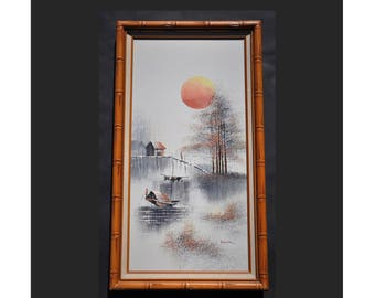 "Vintage Original Oil Painting 27"" x 15"" Signed, Oriental Style, Framed Wood Faux Bamboo, Mid Century Modern Asian Water Scape Sun Boat Trees"