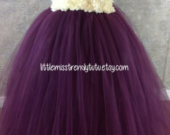 Plum Ivory Tutu Dress, Plum Ivory Flower Girl Tutu Dress Plum Tutu Dress, Girls Eggplant Tutu Dress, Eggplant Flower Girl Tutu Dress