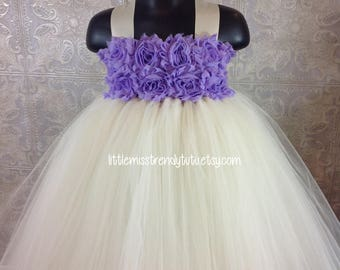 Ivory Flower Girl Tutu Dress, Ivory Tutu Dress, Flower Girl Tutu Dress, Weddings, Lilac Tutu Dress,  Flower Girl Dress, Girls Ivory Tutu