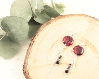Boucles d'oreille pendantes fuchsia - Argent 925