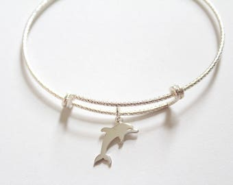 Sterling Silver Bracelet with Sterling Silver Dolphin Charm, Dolphin Charm Bracelet, Dolphin Bracelet, Cute Dolphin Bracelet, Dolphin