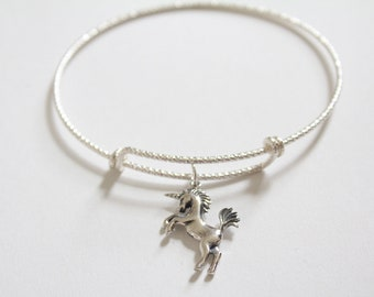 Sterling Silver Bracelet with Sterling Silver Unicorn Charm, Unicorn Charm Bracelet, Unicorn Bracelet, Unicorn Pendant Bracelet, 3D Unicorn