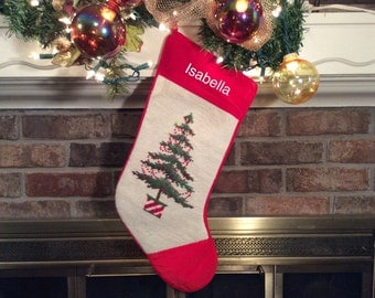 Potted Christmas Tree w/Berry Garland, Personalized Christmas stockings, Needlepoint Christmas Stockings, Christmas Stocking for Gardeners