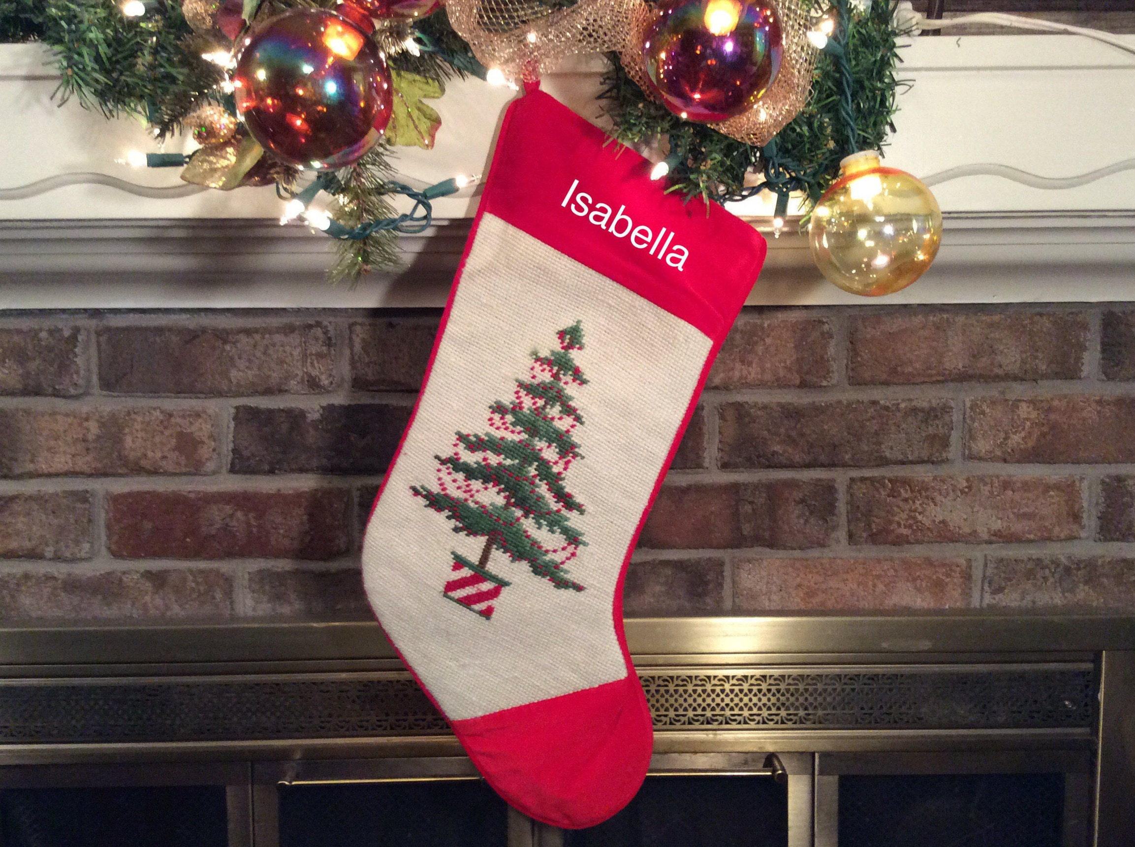 potted christmas tree w  berry garland personalized christmas