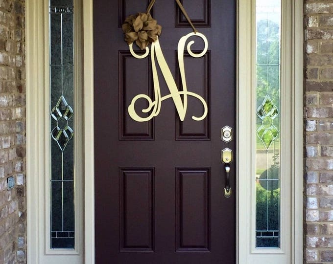 Monogram door wreaths make it personal at house for Metal letters for front door