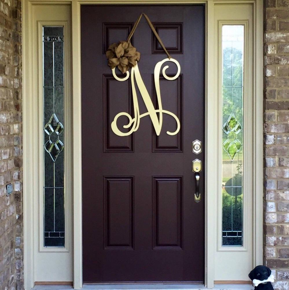 Garland For Front Door: Metal Initial Door Wreath W/ Ribbon Front Door Wreaths