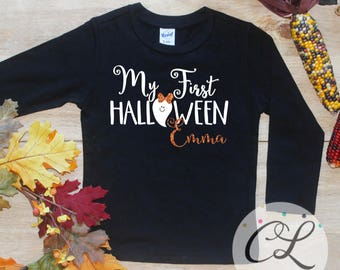 My First Halloween Bodysuit or Shirt / Baby's 1st Halloween Outfit My 1st Halloween T-shirt Baby Girl Halloween Costume Personalized 243